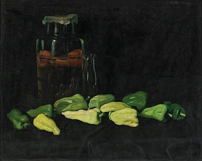 Pepper Painting - Green Pepper by Janos Pentele