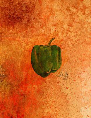 Pepper Mixed Media - Green Pepper by Paul Gaj