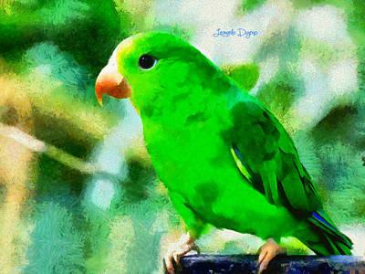 Pigeon Digital Art - Green Periquito - Da by Leonardo Digenio