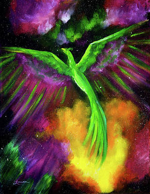 Painting - Green Phoenix In Bright Cosmos by Laura Iverson