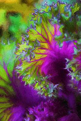 Cabbage Mixed Media - Green-pink Leaves by Lilia D