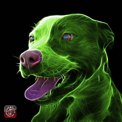 Green Pit Bull Fractal Pop Art - 7773 - F - Bb Art Print