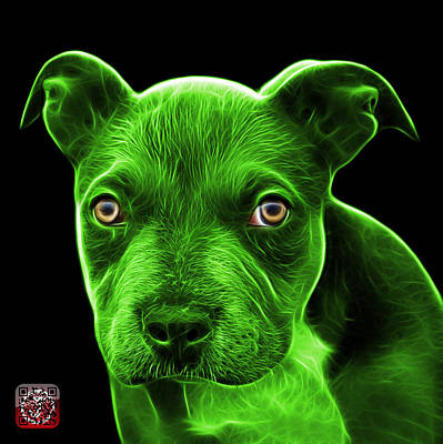 Painting - Green Pitbull Puppy Pop Art - 7085 Bb by James Ahn