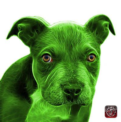 Painting - Green Pitbull Puppy Pop Art - 7085 Wb by James Ahn