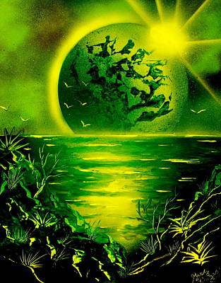Planet System Painting - Green Planet 4669 E by Greg Moores