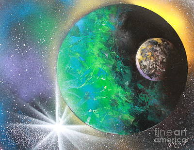 Art Print featuring the painting Green Planet 4672 by Greg Moores