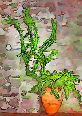 Green Plant In Orange Pot Art Print
