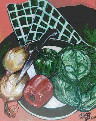 Green Plate Of Cabbage Soup Art Print by Clara Spencer