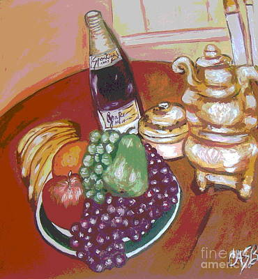 Green Plate Of Fruit Art Print by Clara Spencer