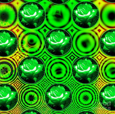 Royalty-Free and Rights-Managed Images - Green Polka Dot Roses Fractal by Rose Santuci-Sofranko