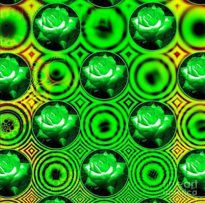 Mixed Media - Green Polka Dot Roses Fractal by Rose Santuci-Sofranko
