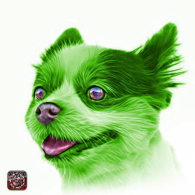 Painting - Green Pomeranian Dog Art 4584 - Wb by James Ahn