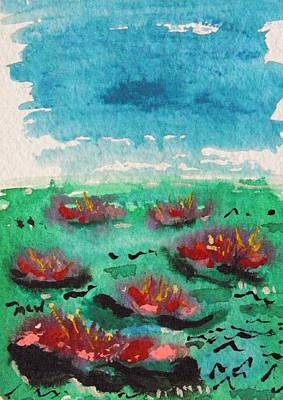 Painting - Green Pond With Many Flowers by Mary Carol Williams