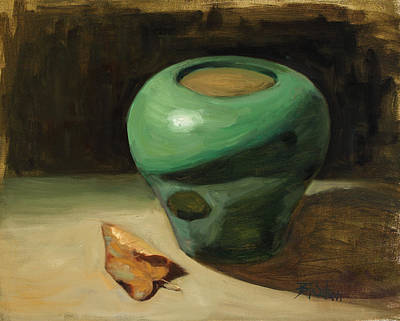 Painting - Green Pot With Autumn Leaf by Billie Colson
