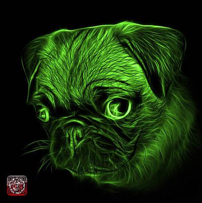 Digital Art - Green Pug -  9567 Fs B by James Ahn