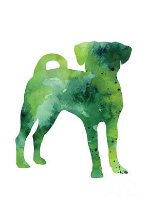 Puggle Painting - Green Puggle Giclee Print by Joanna Szmerdt
