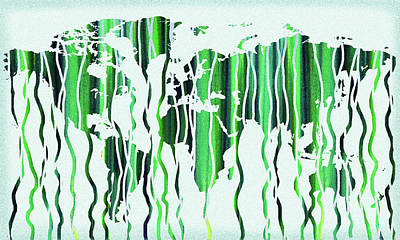 Photograph - Green Rain Watercolor World Map by Irina Sztukowski