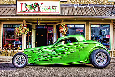 Old Hotrod Photograph - Green Roadster by Carol Leigh