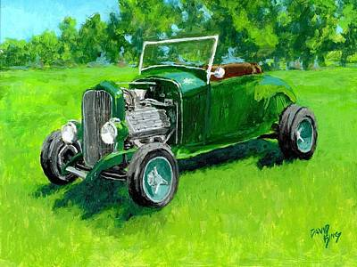 Painting - Green Roadster Hot Rod by David King