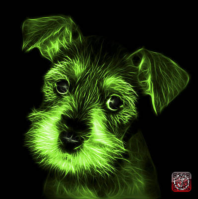 Digital Art - Green Salt And Pepper Schnauzer Puppy 7206 F by James Ahn