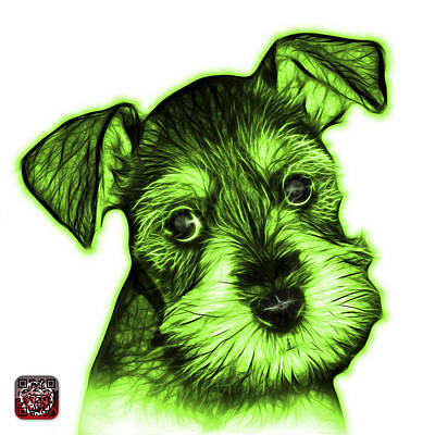 Digital Art - Green Salt And Pepper Schnauzer Puppy 7206 Fs by James Ahn