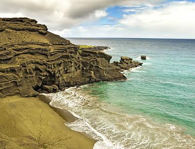 Green Sand Beach On Hawaii Art Print by Brendan Reals