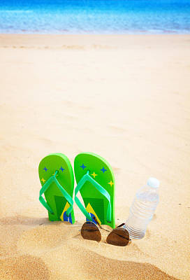 Clear Shoes Photograph - Green Sandals On Beach by Anastasy Yarmolovich