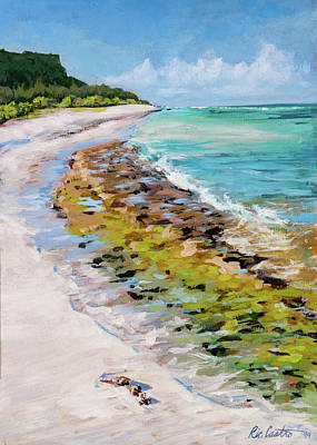Sandbar Painting - Green Sandbar by Ric Castro