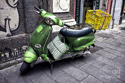 Photograph - Green Scooter In Naples by John Rizzuto