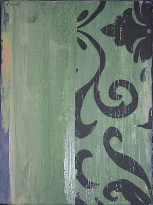 Avondet Wall Art - Mixed Media - Green Scroll by Natalie Avondet