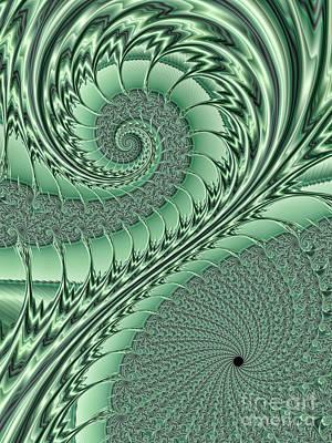 Planar Digital Art - Green Scrolls by John Edwards