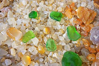 Agate Beach Photograph - Green Sea Glass Art Prints Agates Seaglass by Baslee Troutman Fine Art Prints