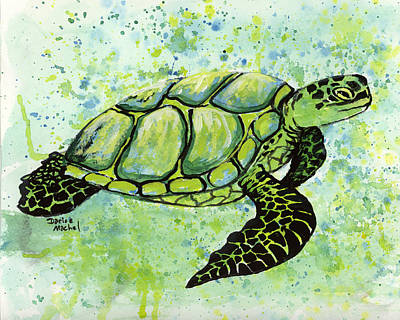 Painting - Green Sea Turtle 2 by Darice Machel McGuire