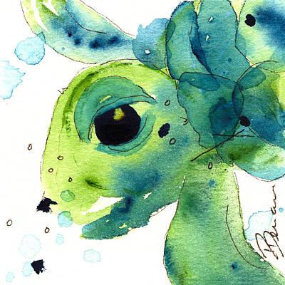 Ocean Turtle Painting - Green Sea Turtle by Dawn Derman