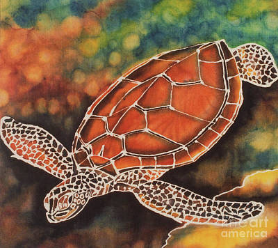 Tapestry - Textile - Green Sea Turtle by Jacqueline Phillips-Weatherly