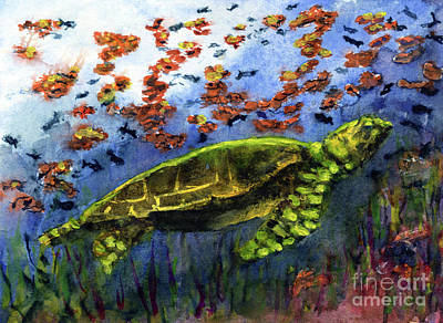 Painting - Green Sea Turtle by Randy Sprout