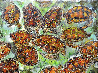Painting - Green Sea Turtles by Jennifer Creech