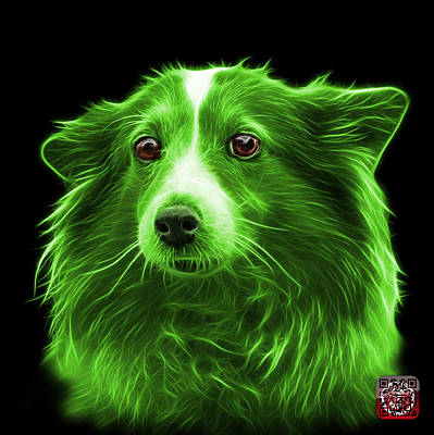 Mixed Media - Green Shetland Sheepdog Dog Art 9973 - Bb by James Ahn