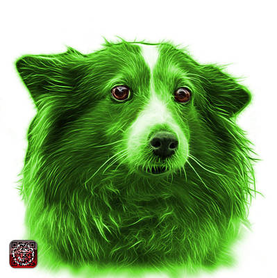 Mixed Media - Green Shetland Sheepdog Dog Art 9973 - Wb by James Ahn