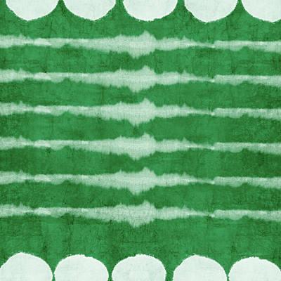 Mixed Media - Green Shibori 3- Art By Linda Woods by Linda Woods
