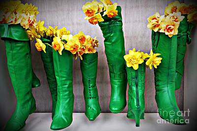 Photograph - Green Shoes For Yellow Spring Flowers by AmaS Art