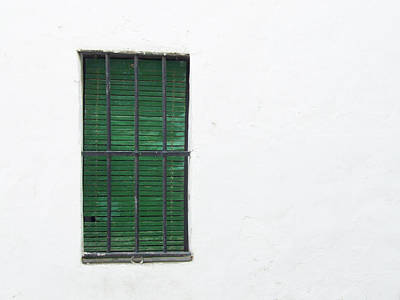 Photograph - Green Shuttered Window by Helen Northcott