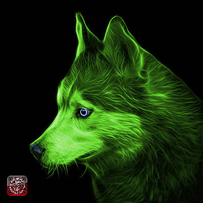 Painting - Green Siberian Husky Art - 6048 - Bb by James Ahn