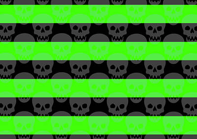 Digital Art - Green Skull Stripes by Roseanne Jones