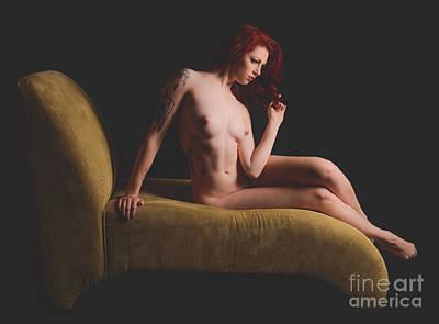 Black Women Nipples Photograph - Green Sofa  by Jt PhotoDesign