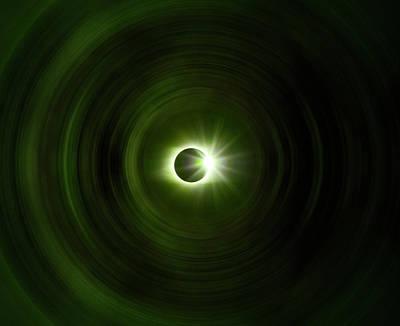 Green Solar Eclipse Spin Art Print