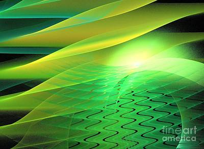 Digital Art - Green Solar Waves by Kim Sy Ok