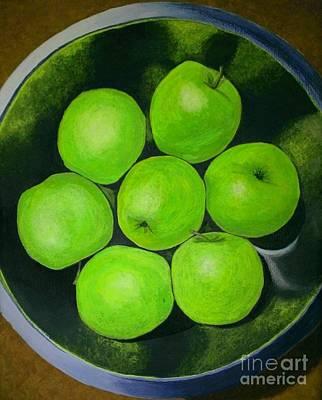 Green Sour-sweet Apples  Original by Olga Zavgorodnya