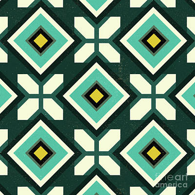Moorish Digital Art - Green Spanish Tile by Andrew Watson