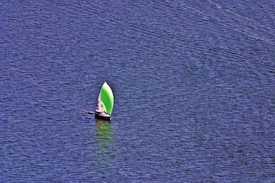 Green Spinnaker Sailing Art Print